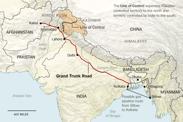 Asia's oldest and longest roads at 2,500 kilometres stretching from Kabul in Afghanistan to Chittagong in Bangladesh.